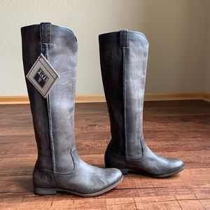 Frye 9.5M rustic gray leather cowgirl riding boots